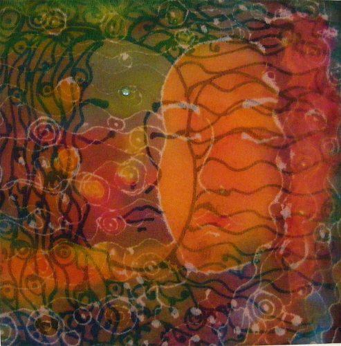 Contemplation, sheer and opaque silk art by Jo-Ann Jensen. joannjensen.com