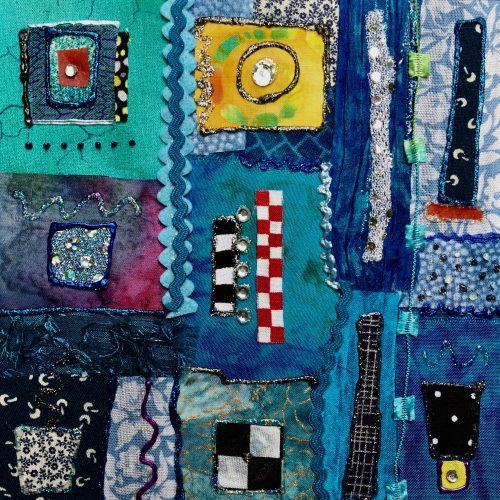 """Serendipity in Blue"", 6"" x 6"" fiber collage on panel by Jo-Ann Jensen"